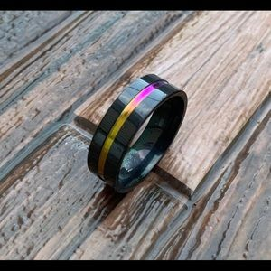 Tungsten Carbide • Multi-Color Inlaid Ring Size 13